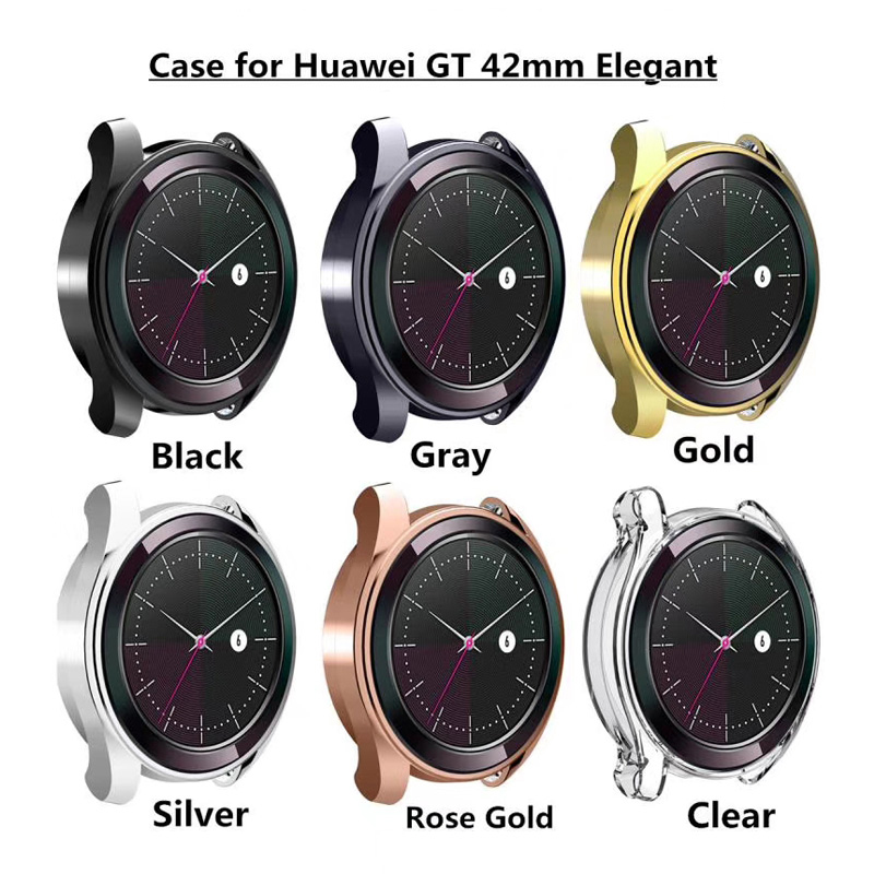 Watch Case Soft Protective Cover For Huawei Watch GT 42mm Elegant Case TPU Bumper For Watch GT 2/1 46mm/2 Pro Frame Accessories