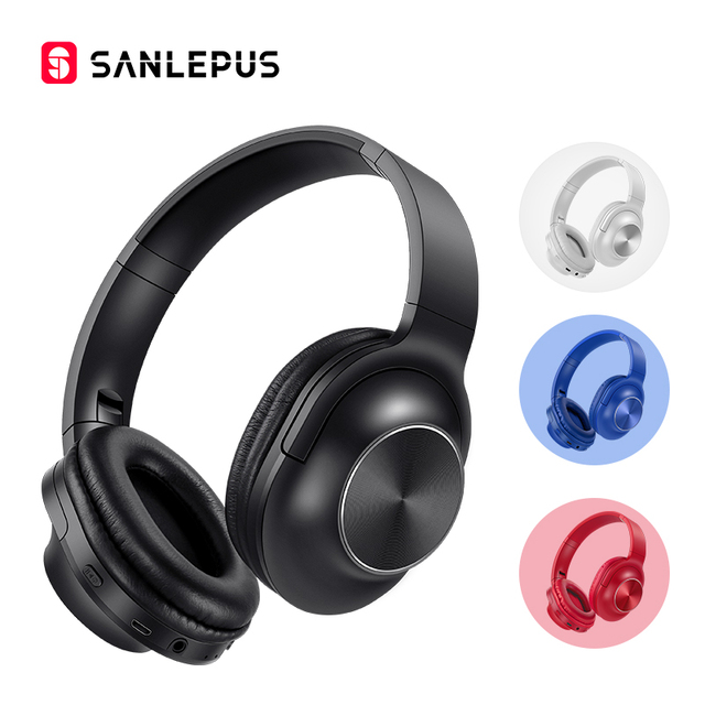 SANLEPUSใหม่หูฟังไร้สายบลูทูธชุดหูฟังสเตอริโอหูฟังหูฟังพร้อมไมโครโฟนสำหรับโทรศัพท์มือถือPC