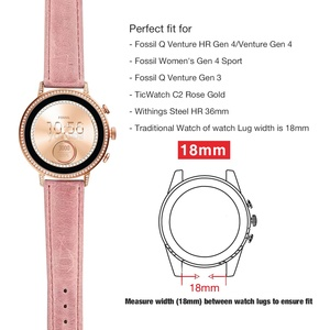 Image 2 - for Fossil Venture Watch Band 18mm Quick Release Classic Leather Rose Clasp Women Wrist Strap for Fossil Q Venture Gen 3/Gen 4