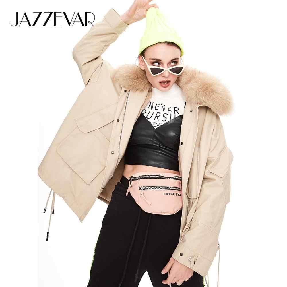 JAZZEVAR 2019 Winter neue ankunft winter mantel frauen mit einem pelz kragen lose kleidung oberbekleidung hohe qualität winter kleidung K9033