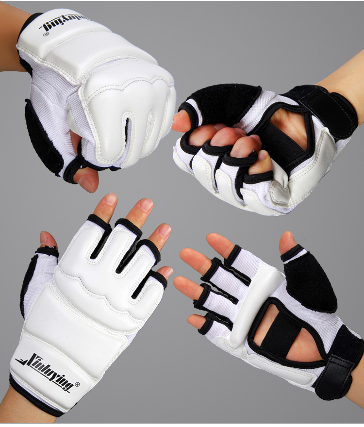 Hvit Half Finger Fight Boksehanske Mitts Sanda Karate Sandbag Taekwondo Protector For Boksing Mma Muay Thai Kick Boxing