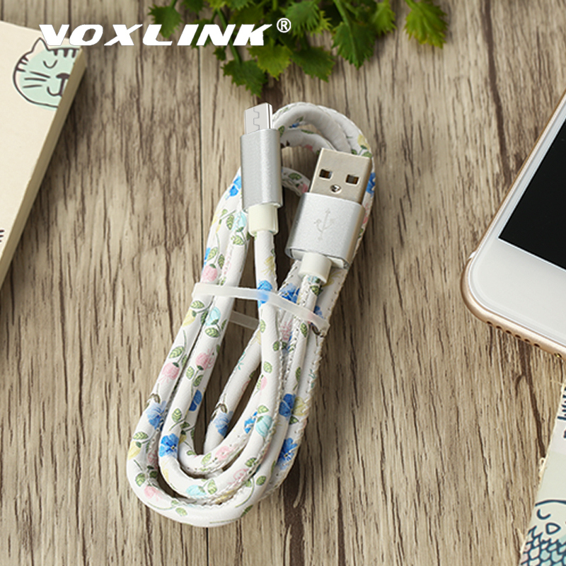 VOXLINK 5V2A Micro USB Cable Fast Charging Mobile Phone Cables PU Leather Data Sync USB