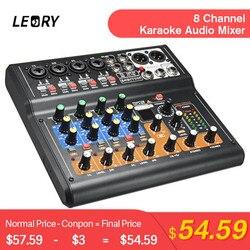 LEORY Professionale 8 Canali Audio Mixing Console Mini USB Digital DJ Mixer Con Il RILIEVO Interruttori DSP Effetto Per Karaoke PC riunione