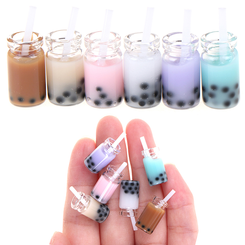 3Pcs/Lot 1:12 Doll House Miniature Tea With Milk Cups Food Drink Beverage Toy Decoration Dolls Accessories