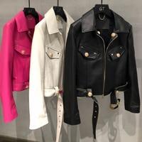 Frühling Und Herbst 2021 Neue Mode Import Echt Schaffell Mantel Frauen Kurze Länge Mantel Mit Gürtel Buchstaben Schmücken