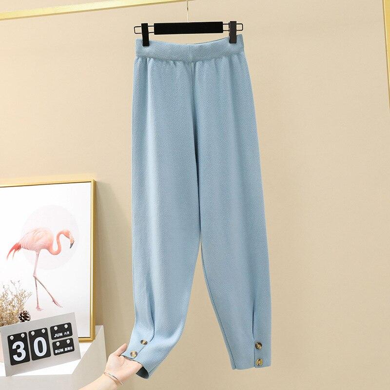 Осенние женские повседневные штаны-шаровары, свободные брюки для женщин, зимние теплые толстые вязаные штаны-свитера, женские брюки редис - Цвет: blue