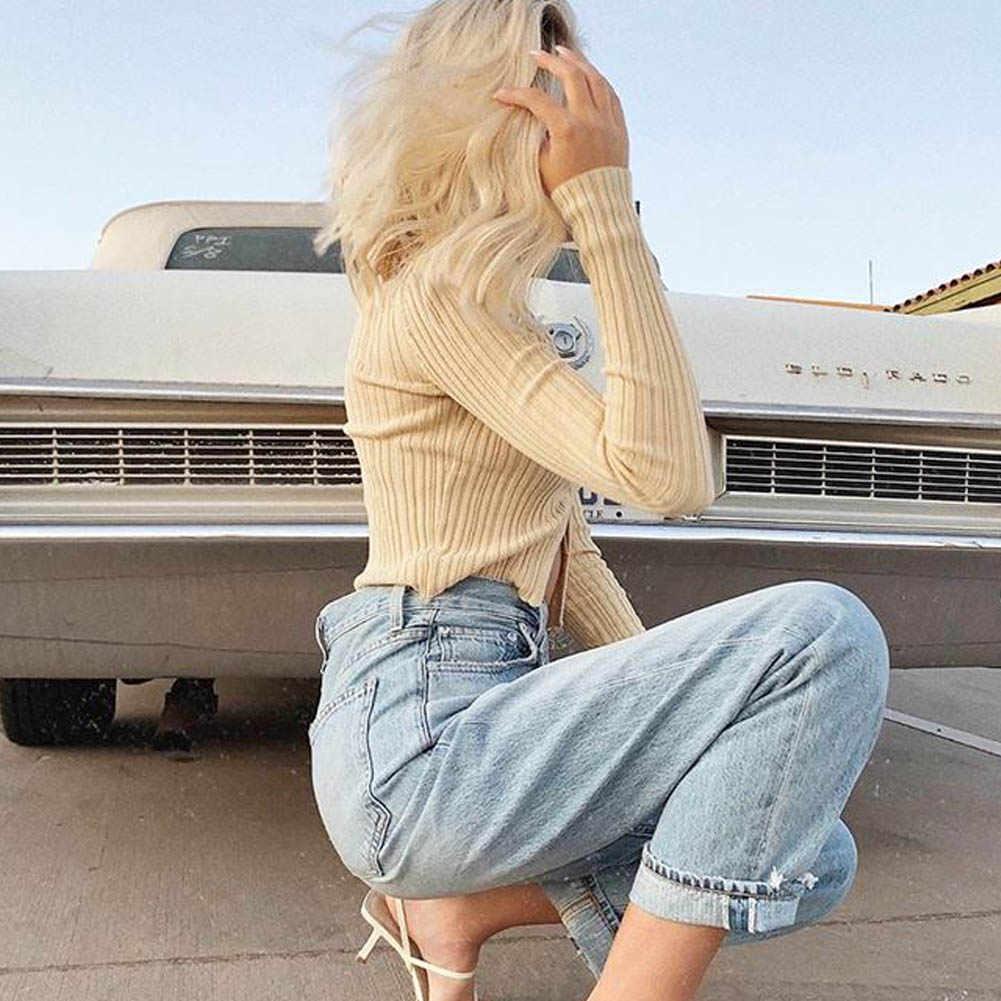 Wanita Lengan Panjang V-Leher Dipotong Tombol Bawah Klasik Sweater Cardigan Rajut Katun