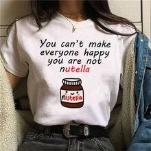 Dessin animé Q version Nutella T-shirt imprimé beurre d'été femme T-shirt Harajuku dessin animé graphique T-shirt manches c