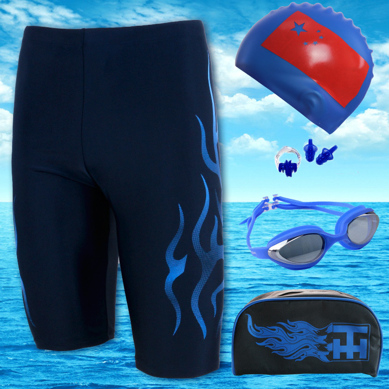 New Style MEN'S Swimming Trunks Adult High-End Five-Piece Flame Long Swimming Trunks