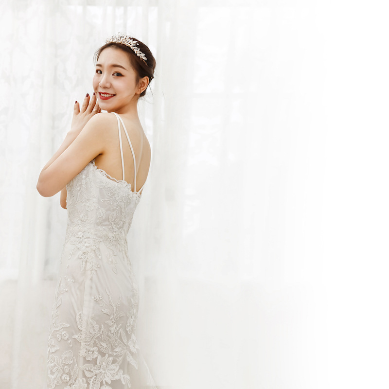 Sexy Mermaid Kant Bruidsjurken Spaghettibandjes V hals Bridal Wedding Gown Aangepast Formaat Kleur - 4