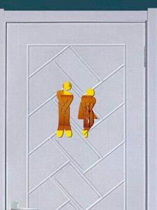 Door-Stickers Mirror Toilet-Sign Wall-Decor Acrylic Home-Decoration Bathroom Creative