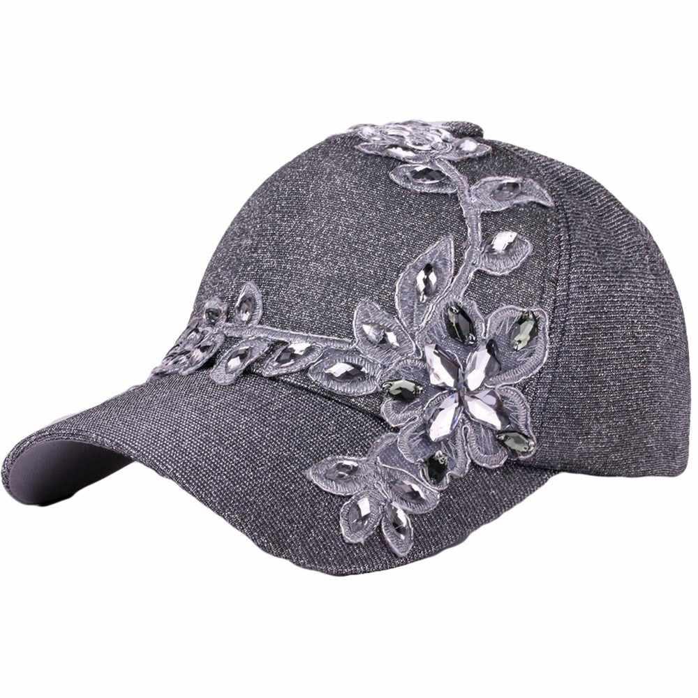 Gorra de béisbol de moda para mujer, gorra de béisbol de Color sólido con diamantes de imitación curvada, gorra de béisbol para exteriores, gorras deportivas ajustables