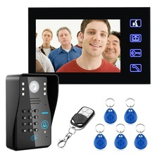 цена на 7 inches Wired Doorbell RFID Password Video Door Phone Intercom Doorbell With IR Camera HD TV Line Remote Control System