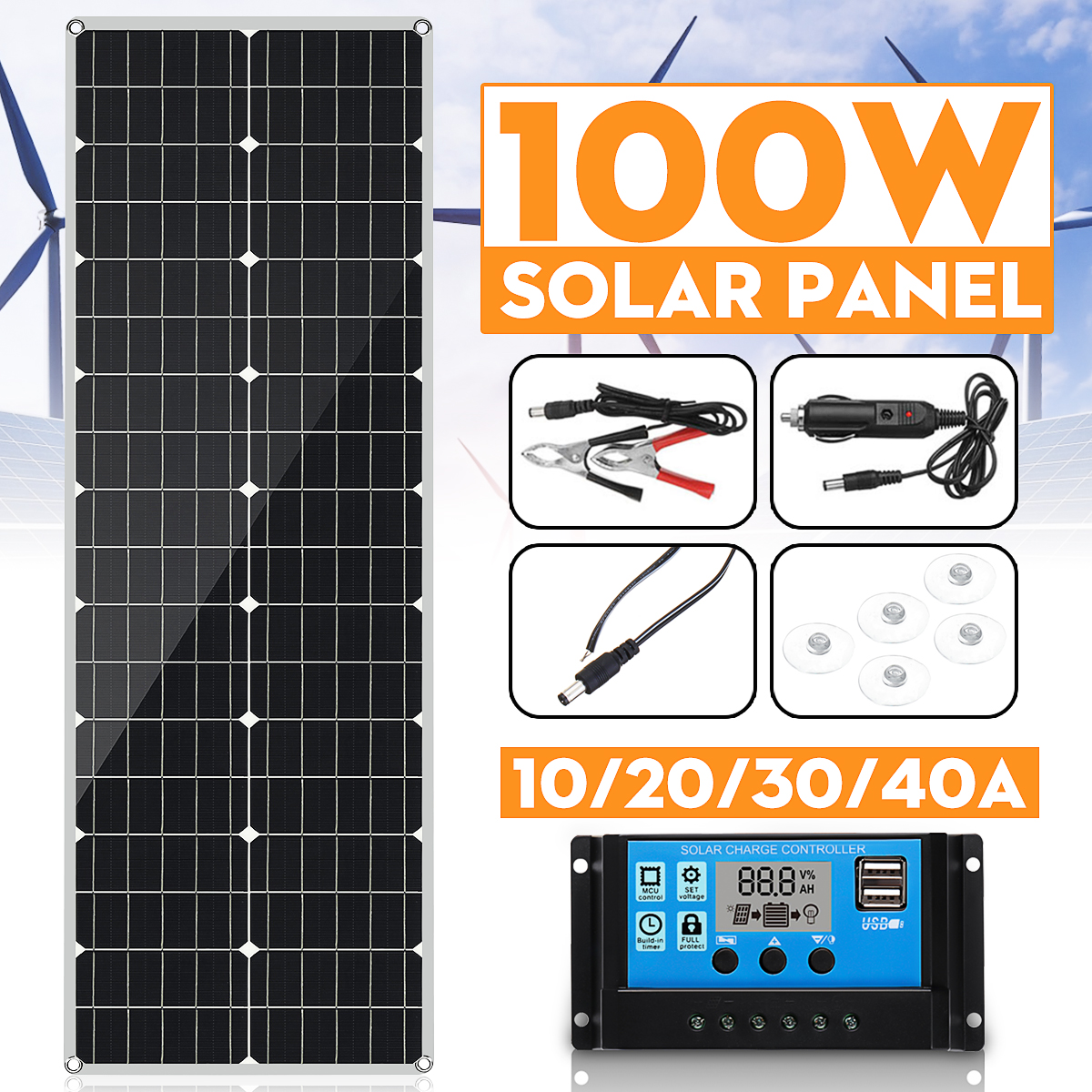KINCO100W Solar Panel 18V Flexible MonoCrystalline Silicon Solar Panel for Outdoor Cycling Climbing Hiking Camping Solar Battery