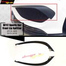 W117 Sports Front Lip Splitters Air Flow Vent ABS For Benz CLA-Class CLA180 200 2Pcs Bumper Splitter Wing Spoiler 2013-2016