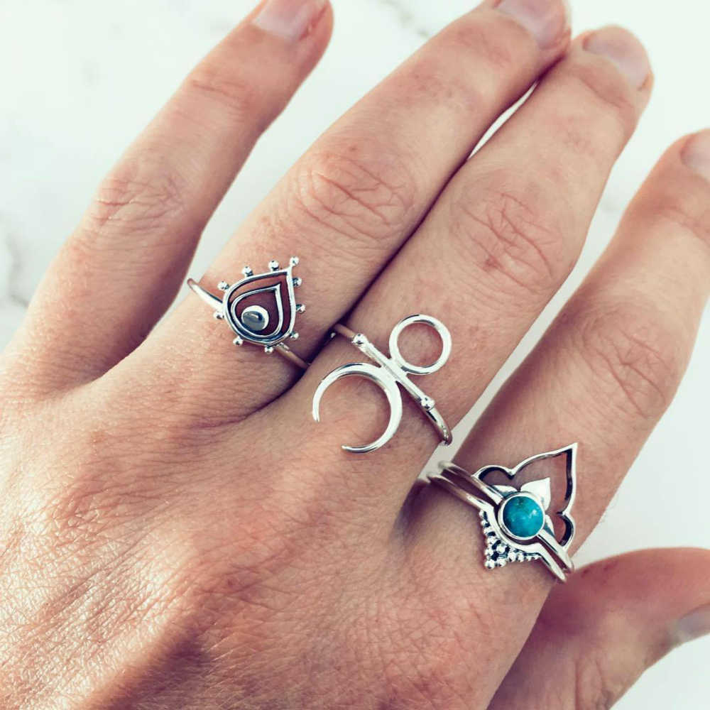 Ring Simple Punk Fashion Retro Bohemian Style Ancient Silver Rings For Women Jewellery Suit Wedding Rings Ring Set