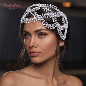 Image 4 - TOPQUEEN HP243 Diadema de lujo para novia, tocado de boda, Pamelas y tocados para bodas, boda con Tiara de diamantes de imitación, entrega rápida