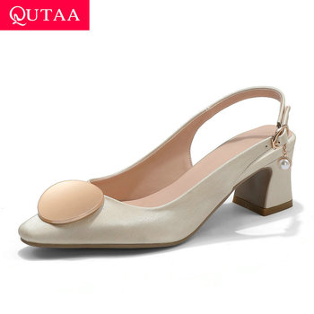QUTAA 2020 Pointed Toe Elegant Ladies Pumps PU Leather Back Strap Buckle Women Shoes Summer Square High Heel Sandals Size 34-43