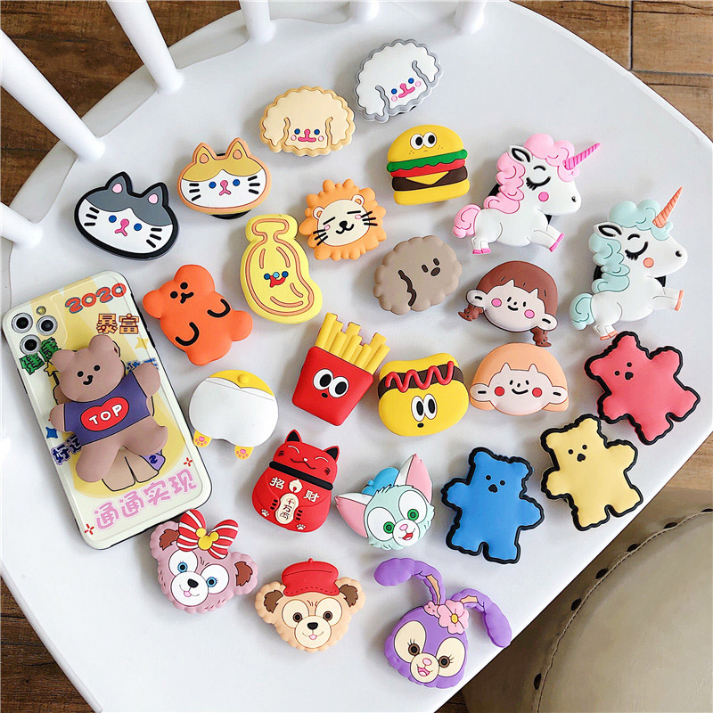 Cute Teddy Dog Folding Stand Holder For Mobile Phone Funny Cartoon Grip Finger Holder For Iphone 11 Pro For Huawei Case Bracket
