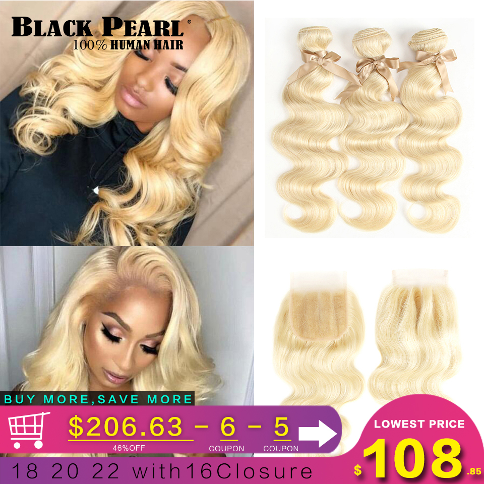 Black Pearl 613 Blonde Bundles With Closure Malaysian Body Wave Remy Human Hair Weave Honey