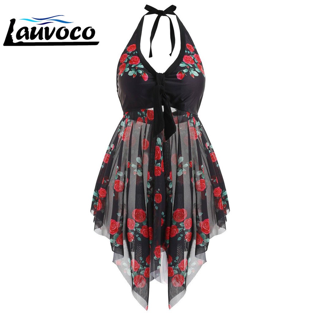 Womens Two Piece Swimsuit Plus Size Swimdress Bathing Suit Mesh Printed Tankini