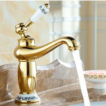 Gold Basin Tap Brass Ceramic Faucet Plate Spool Holder Deck Mounted Single Handle Copper Faucets