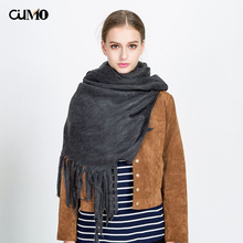 [OuMo] brand womens Cashmere scarf Solid color long tassel Long Shawl Wrap Blanket Warm Female section 165*63cm