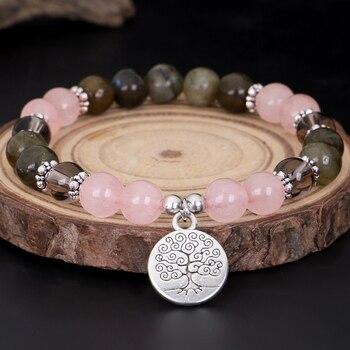 Bracelet en pierre naturelle pour Femme bijou Rose perles pour le poignet Rose q uartz Labradorite