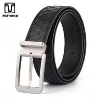 McParko Genuine Python Leather Belt Men Pin Buckle Suit Belt Straps Classical Business Waist Belts Snake skin Leather Black New