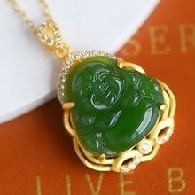 Pendant Necklace Jewelry Gold-Craft Hetian Jade Traditional Smile-Buddha Chinese-Style