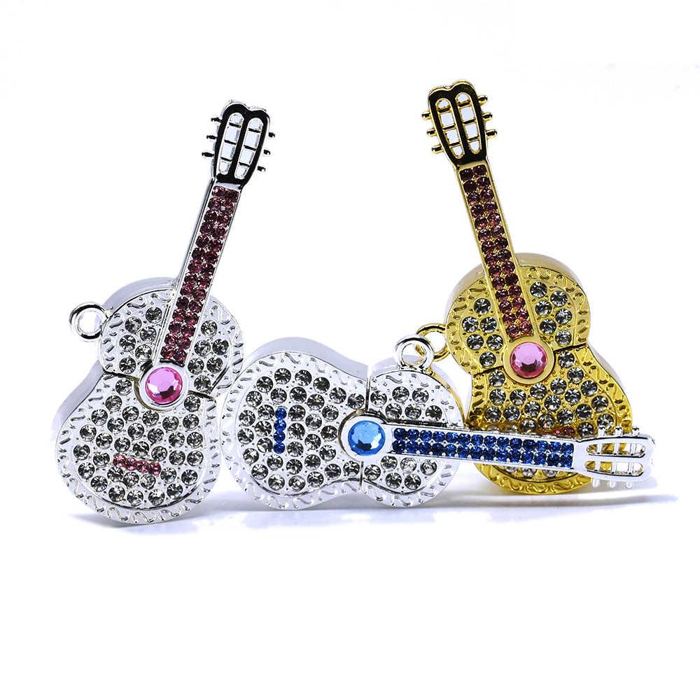 Gitara USB flash jazdy diament pen drive Shining pendrive metalowe pendrive 4GB 8Gb 16Gb 32GB 64Gb 128GB 256GB u kij