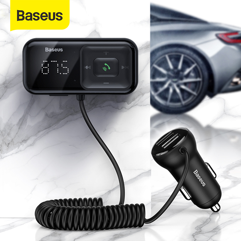 Baseus Bluetooth Handsfree Car Kit Auto FM Transmitter Modulator Mp3 Player With 3.1A USB Car Charger Aux Bluetooth Adapter