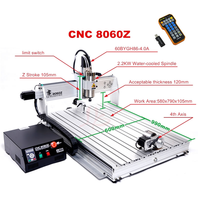 CNC 8060Z Wood Carving Router Metal Engraver PCB Milling Drilling Machine 4Axis 2.2KW Spindle Mach3 Control System USB Port