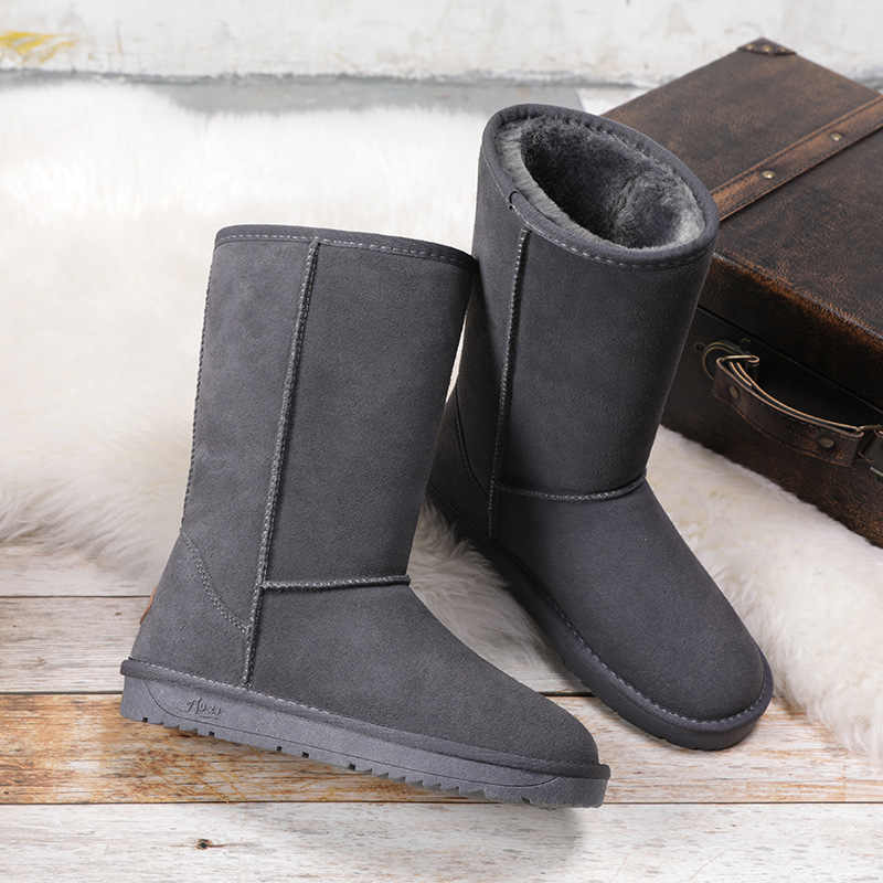 Botas altas de nieve para mujer australianas, botas largas de cuero impermeables para invierno, botas de invierno de marca para exteriores, tamaño UE 35-40