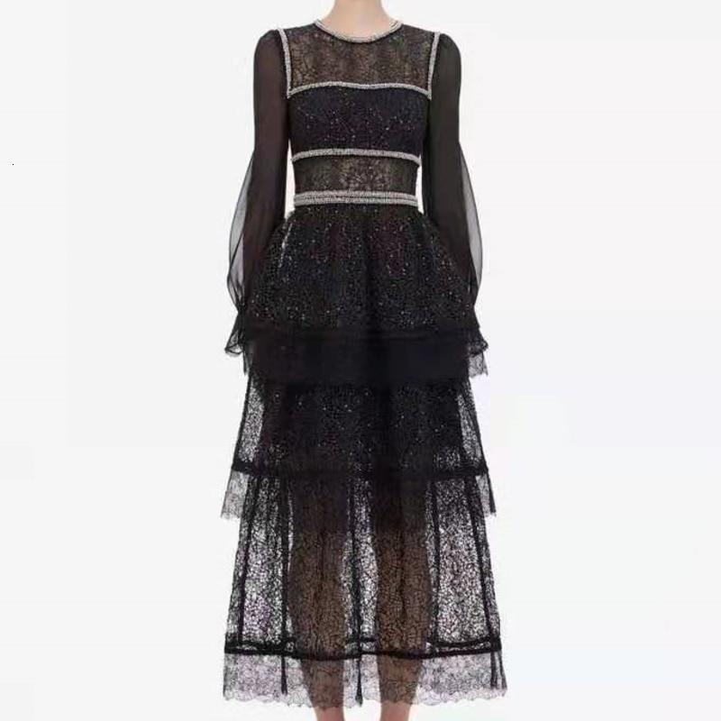 2019 nouveau o-cou automne évider femmes dentelle lanterne manches Patchwork taille haute fête noir élégant Vintage Sexy robes de soirée