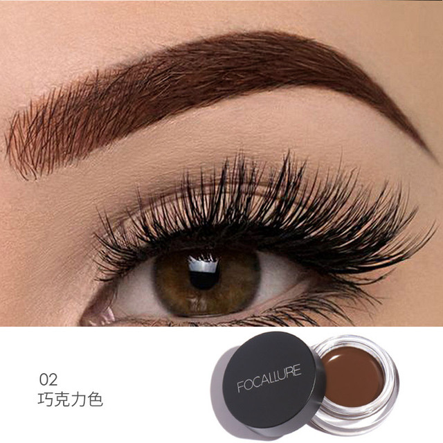 FOCALLURE Eyes Comestic Waterproof Eyebrow Gel Makeup Long Lasting Liquid Eyebrow Cream Eye Brow Makeup Set + Black Brush 2