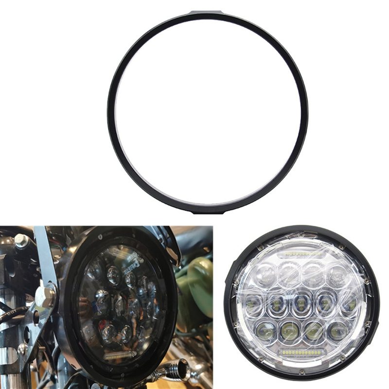 Motorcycle Headlight Trim Ring Bracket 7 Inch Electroplated Black