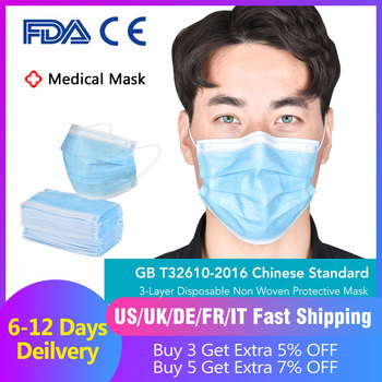 50pcs Medical Masks Bacteria Proof Surgical Masks 3 Layer Filter Disposable Masks Anti-dust Mouth Nose Proof Earhook Face Masks