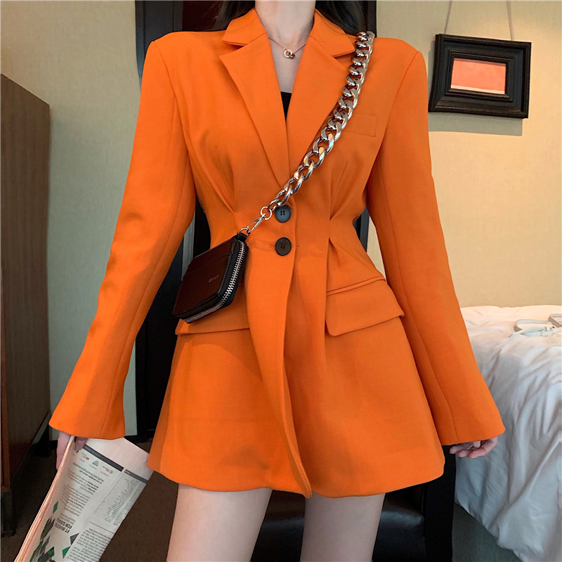 Spring Casual Women's Blazer Button Suit Jacket Autumn Blazer Slim Black Orange Female Coat Ladies Long Sleeve Outerwear XZ04