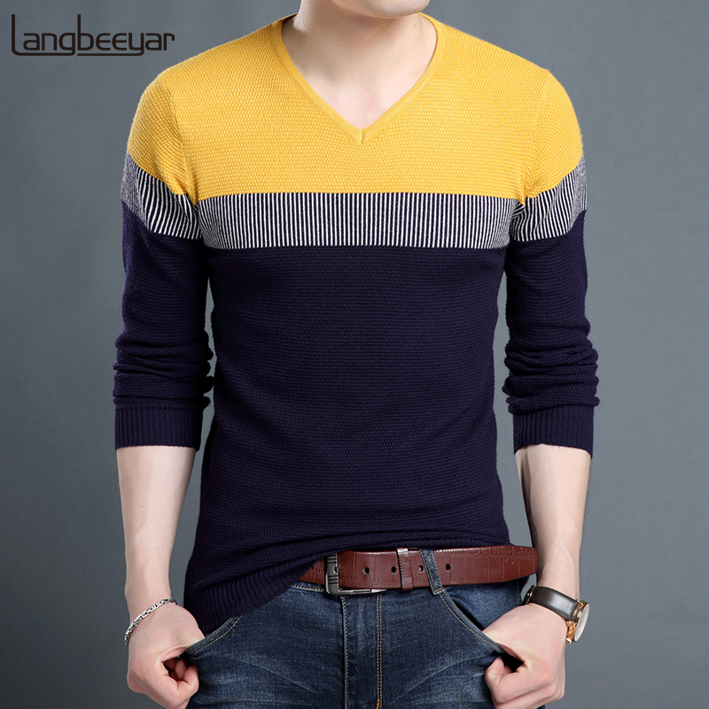 2019 New Fashion Brand Sweater Man Pullover V Neck Slim Fit Jumpers Knitred Woolen Winter  Korean Style Casual Men Clothes