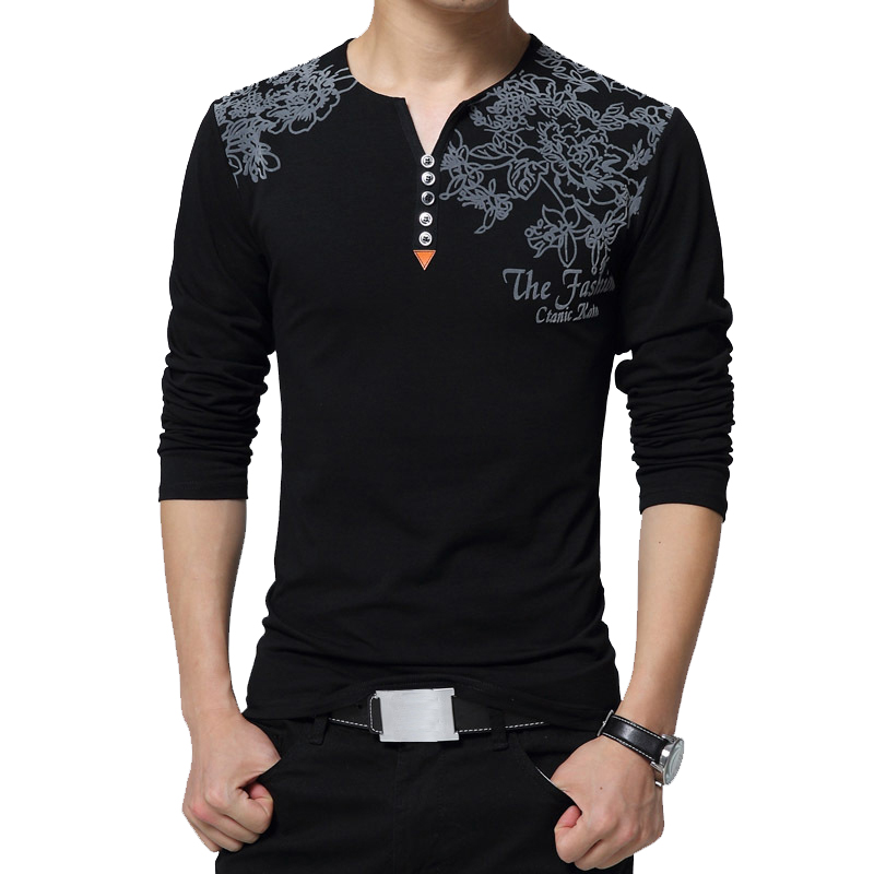 2019 Autumn Fashion Floral Print Men T-shirt Henry Collar Button Decorate Long Sleeve T-shirt For Men Tops Plus Size 5XL