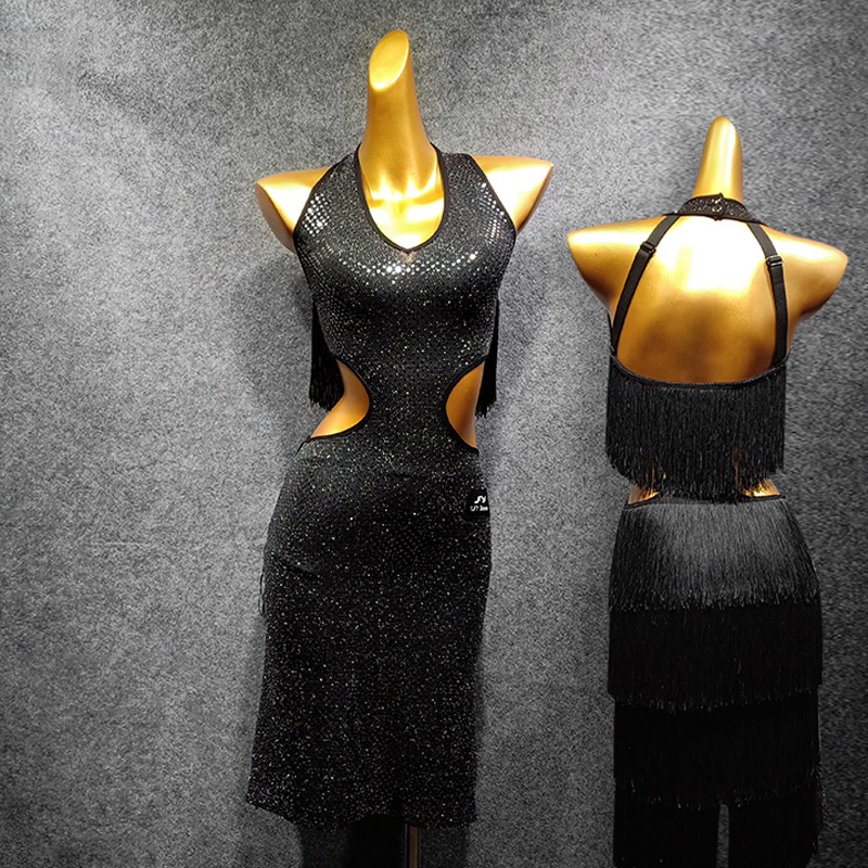 New Dance Dress Women Latin Dance Costume Fringe Skirt Sequin Dress With Bra Pant Practice Competition Suit Latin Dancewear1456