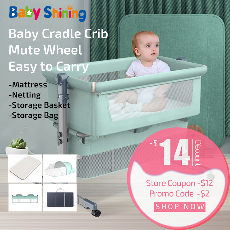 baby crib solid wood sleeping basket Independent portable travel baby cradle cot