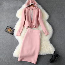 High Quality Elegant Pink Robe Winter Pullover Vestidos Women Runway Tassle Designer Casual Hooded Dress Suit Set(China)