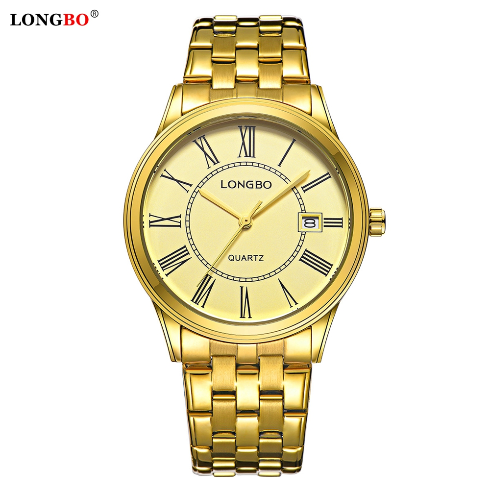 LONGBO Luxury Watch Men Fashion Military Stainless Steel Date Sport Watches Reloj Hombre Quartz Analog Wristwatches Montre Homme