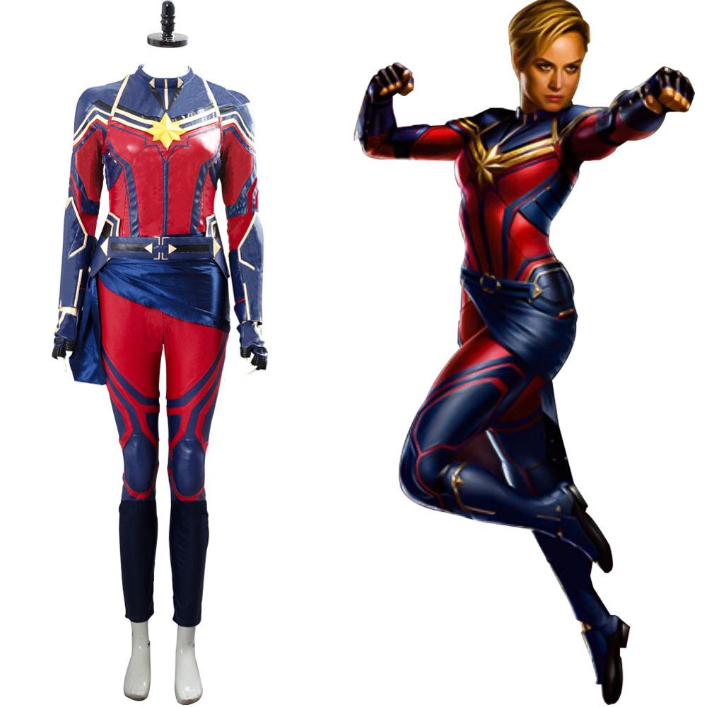 Women Captain Marvel Costume Carol Danvers Superhero Cosplay Spandex Jumpsuit