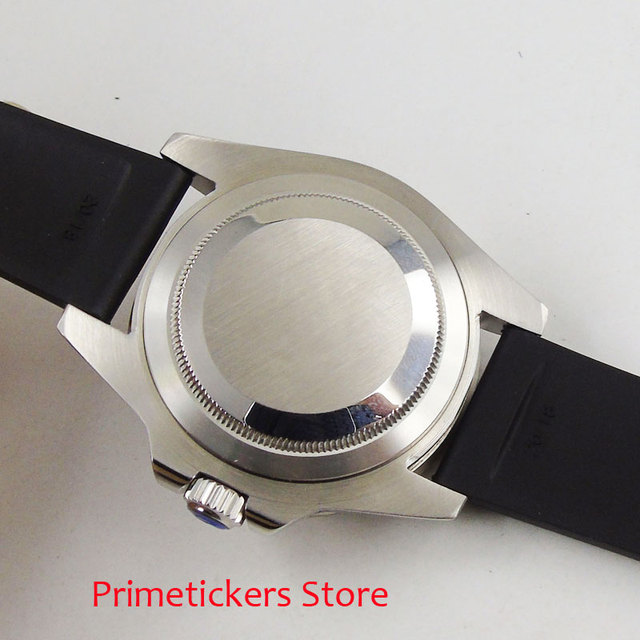 40mm Parnis black dial sapphire glass rubber strap red GMT pointer automatic mens watch