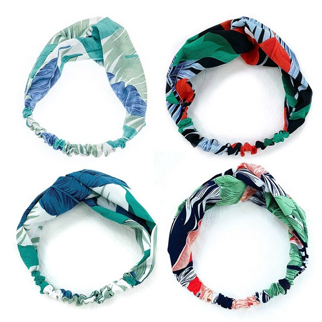 Frauen Sommer Süße Haar Bands Floral Gedruckt Stirnbänder Retro Kreuz Turban Bandanas Haarband Haar Zubehör Headwrap Headwear