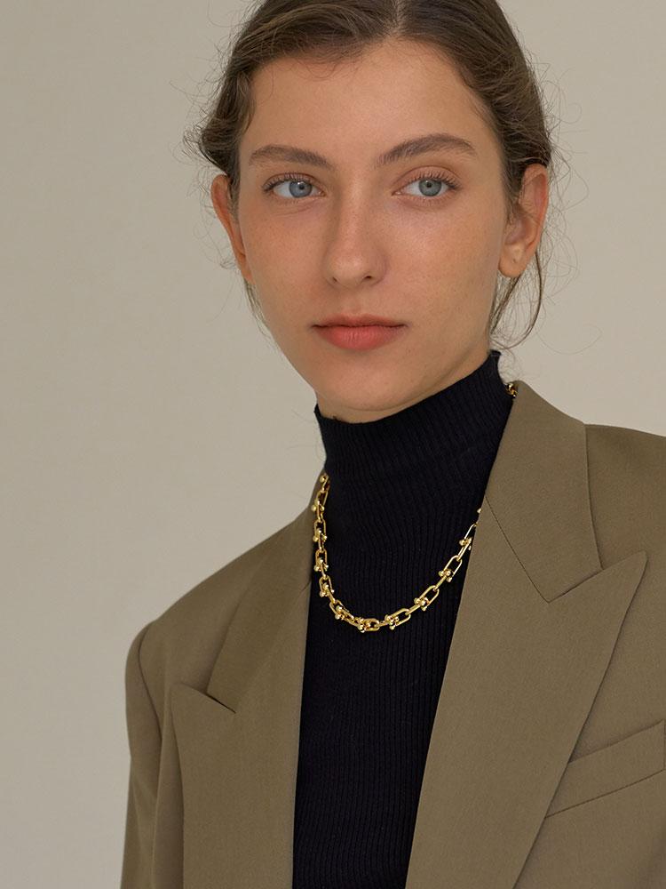 Timeless Wonder Brass Geo U Linked Choker Statement Necklace Women Jewelry Punk Gothic Ins Boho Runway Party Designer Top 2535