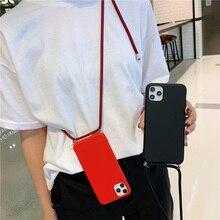 Cao Cấp Ban Đầu Liquid Silicone Ốp Lưng Điện Thoại iPhone 11 12Pro Max 7 8Plus XR XS Màu Kẹo Bao Da Với dây Dây Đeo Cổ Dây